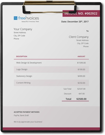 cherry theme invoice