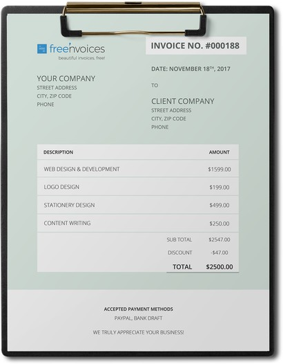 go green invoice template