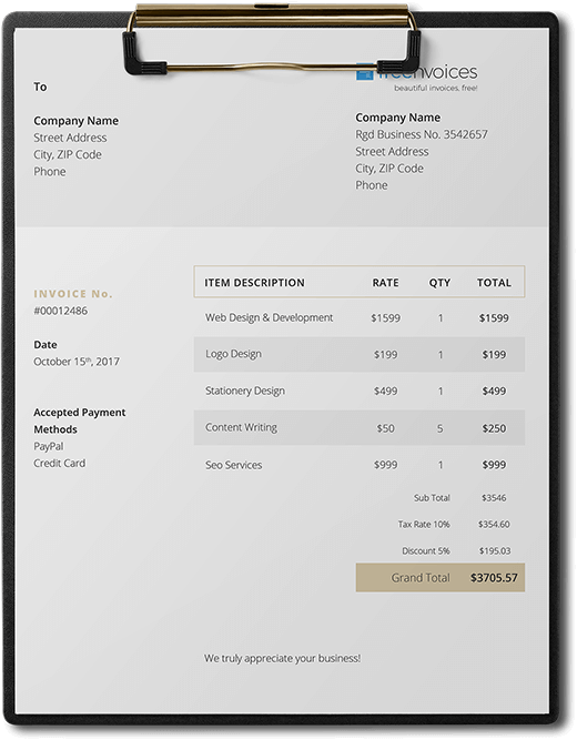 golden touch invoice template