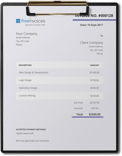 purple project word invoice template