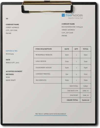 simple smart invoice template